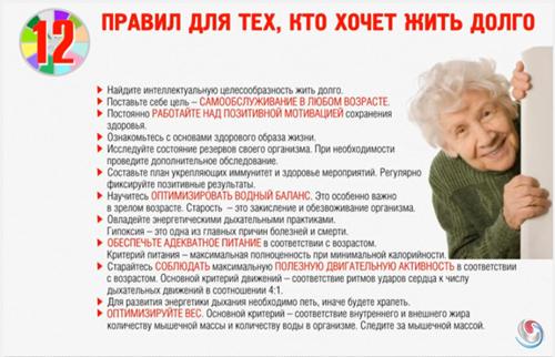 12 правил для тех, кто хочет жить долго